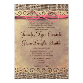 Rustic Vintage Paper Burlap Wedding Invitations Custom Announcements