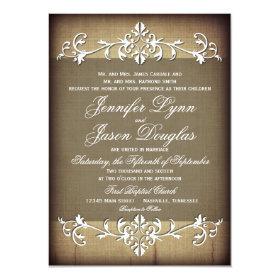 Rustic Vintage Paper Flourish Wedding Invitations