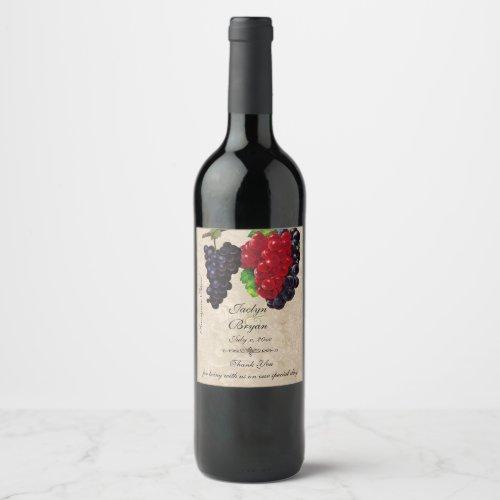 Rustic Vintage Paper Wedding Wine Wine Label