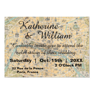 Rustic Vintage Paris Map Wedding Invitation