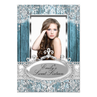Rustic Vintage pearl lace & wood Photo Sweet 16 Card