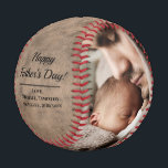 """Rustic Vintage Photo Father's Day Baseball<br><div class=""""desc"""">This ball is designed with a rustic vintage background,  and can be customized with two photos,  a year,  and the names of your choice. Makes a great gift for Father's Day!</div>"""