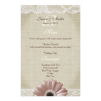 Rustic Vintage Pink Daisy and Lace Menu Personalized Stationery