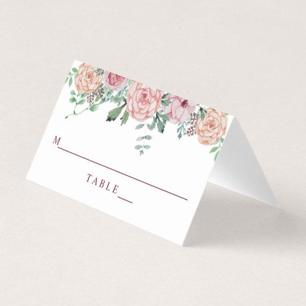 Rustic Vintage Pink Floral Wedding Place Card