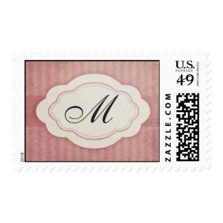Rustic Vintage Pink Monogram Wedding Stamps