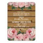 Rustic Vintage Pink Rose Birthday Party Card