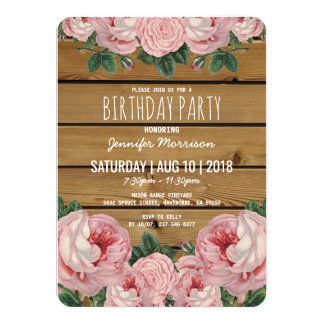 Rustic Vintage Pink Rose Birthday Party Card