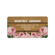 Rustic Vintage Pink Rose Address Labels