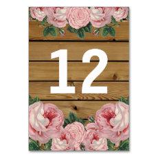 Rustic Vintage Pink Rose Table Number Cards