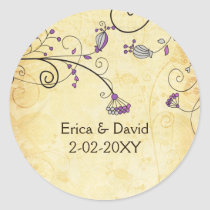 rustic vintage purple floral envelope stickers