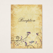 rustic vintage purple floral  Reception Cards