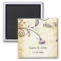 rustic vintage purple floral save the date magnet