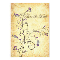 rustic vintage purple floral Save the dates Card