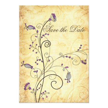 rustic vintage purple floral Save the dates Card