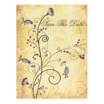 rustic vintage purple floral Save the dates Postcard