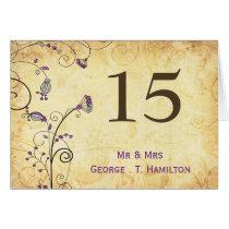 rustic vintage purple floral  table numbers card