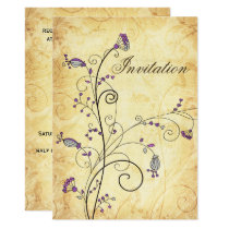 rustic vintage purple floral wedding invites