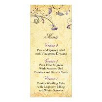 rustic vintage purple floral wedding menu cards