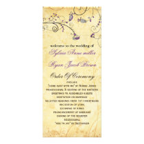 rustic vintage purple floral wedding program