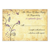 rustic vintage purple floral wedding rsvp 3.5 x 5 card