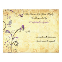 rustic vintage purple floral wedding rsvp card