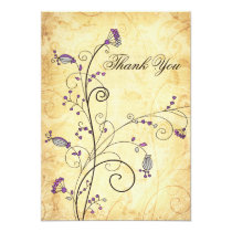 rustic vintage purple floral wedding Thank You Card