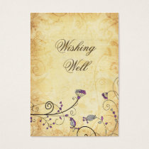 rustic vintage purple floral  wishing well cards