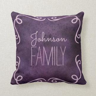 Rustic vintage purple watercolor framed monogram throw pillow