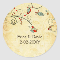 rustic vintage red floral envelope stickers
