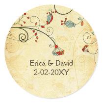 rustic vintage red floral envelope stickers