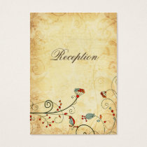 rustic vintage red floral  Reception Cards