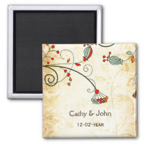 rustic vintage red floral save the date magnet