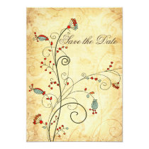 rustic vintage red floral Save the dates Card