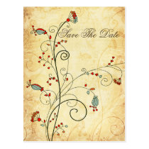 rustic vintage red floral Save the dates Postcard