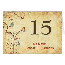 rustic vintage red floral  table numbers