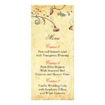 rustic vintage red floral wedding menu cards