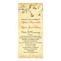 rustic vintage red floral wedding program