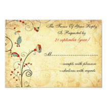 rustic vintage red floral wedding rsvp 3.5 x 5 card