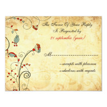 rustic vintage red floral wedding rsvp card