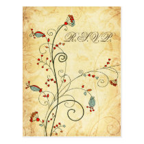 rustic vintage red floral wedding rsvp postcard