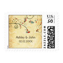 rustic vintage red floral  wedding stamps