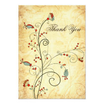 rustic vintage red floral wedding Thank You Card