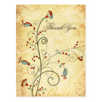 rustic vintage red floral wedding Thank You Postcard
