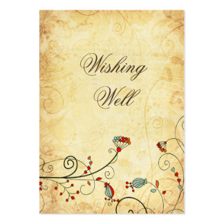 rustic vintage red floral  wishing well cards large business cards (Pack of 100)
