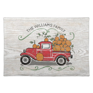 Vintage Red Truck Christmas Placemats.Rustic Vintage Red Truck Pumpkins Family Name Cloth Placemat