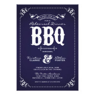 Rustic Vintage Rehearsal Dinner BBQ Custom Announcement