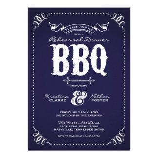 Rustic Vintage Rehearsal Dinner BBQ Custom Announcement