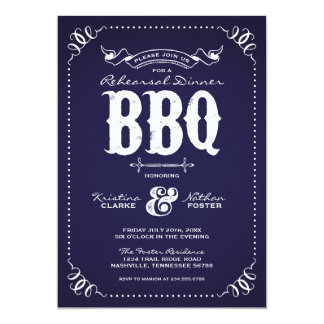 Rustic Vintage Rehearsal Dinner BBQ 5x7 Paper Invitation Card