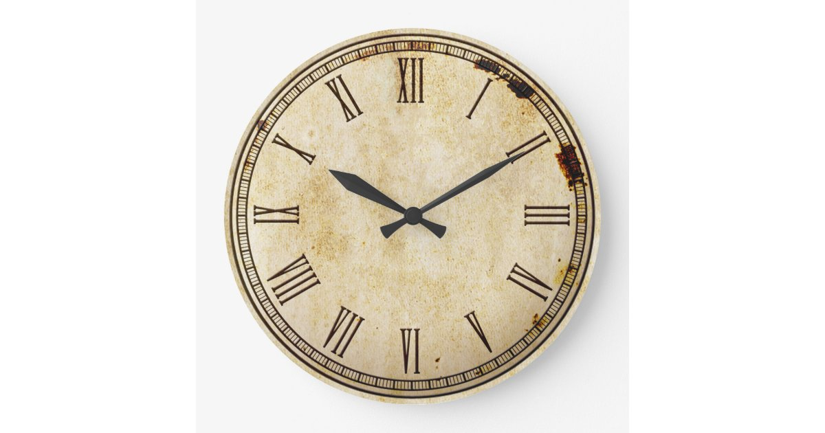 Rustic Vintage Roman Numeral Clock Face Zazzle Com