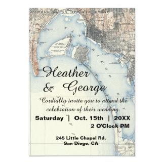 Rustic Vintage San Diego Map Wedding Invitation